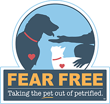 Badge that reads Fear Free, Taking the pet out of petrified